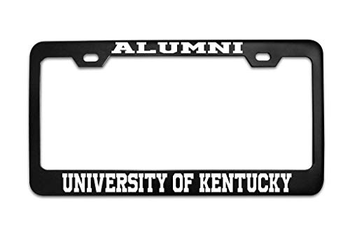 (AMZ Decorative Frames Alumni University of Kentucky University Black License Plate Frame Tag Aluminum Metal with Chrome Screw Caps - 2 Holes Car License Plate Cover for US Vehicles)