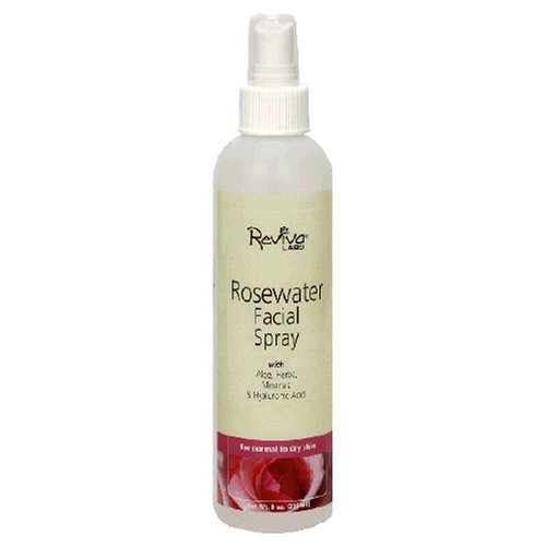 Reviva Labs Facial Spray, Rosewater, For Normal to Dry Skin, 8-Ounces (Pack of 3)