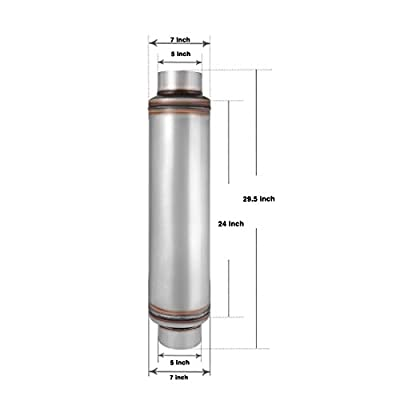 """5"""" Inlet/Outlet Muffler, AUTOSAVER88 Universal Stainless Steel Performance Exhaust Resonator for truck, 30"""" Overall Length: Automotive"""