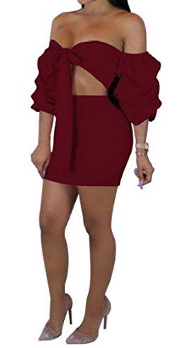 Delle Vescovo Colore Maniche Delle Cinghie 2 Sexy donne Coolred Spostato Abito Pezzi Rosso Puro Vestito Cassa Sexy Vino wxXtqASI