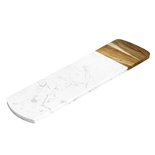 ELFRhino Cheese Board Versatile Marble and Acacia Wood Pastry Board Cheese Board Serving Board Trays Cheese Server Cheese Plate ()