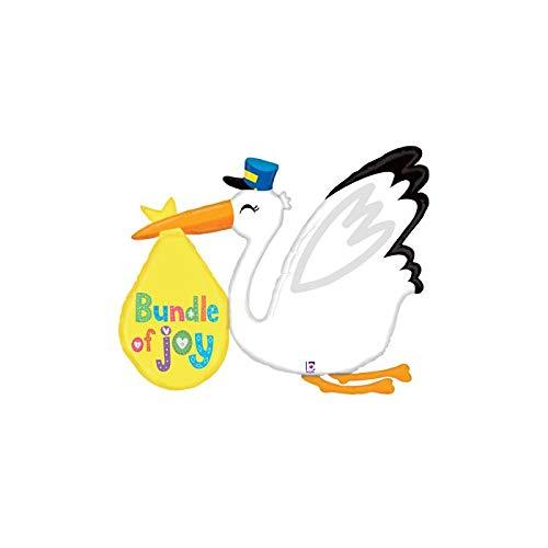 Bundle of Joy Stork 43'' Mylar Balloon Baby Shower Birthday Party Decorations ()