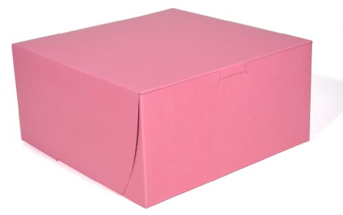 Southern Champion Tray 0841 Pink Paperboard Non-Window Lock-Corner Bakery Box, 8'' Length x 8'' Width x 4'' Height (Case of 250) by Southern Champion Tray