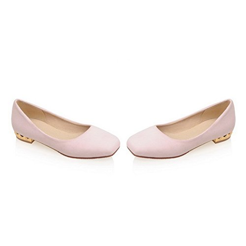 AllhqFashion Womens Frosted Square Closed Toe Low-Heels Pull-On Solid Pumps-Shoes Pink 7jWnG