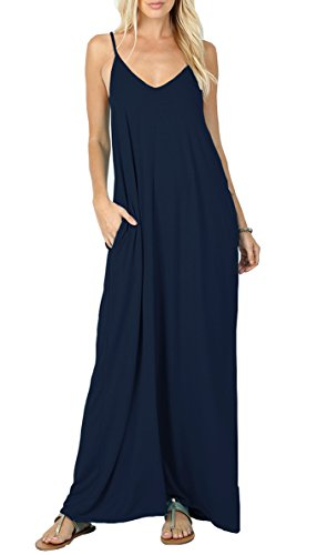 VIISHOW Women's Summer Casual Plain Flowy Pockets Loose Beach Cami Maxi Dresses (XXL, Navy ()