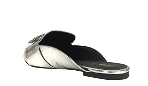 SWIRL 104! Qupid Womens Dazzling Crystal Buckle Slip On Loafer Flat Mule Slippers Silver DGeYwuG6