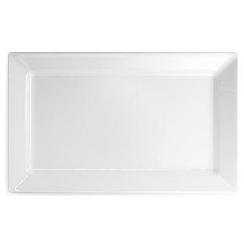 Q Squared Diamond White BPA-Free Melamine Large Rectangle Platter, 17-1/4 by 10-1/2, (White Large Platter)