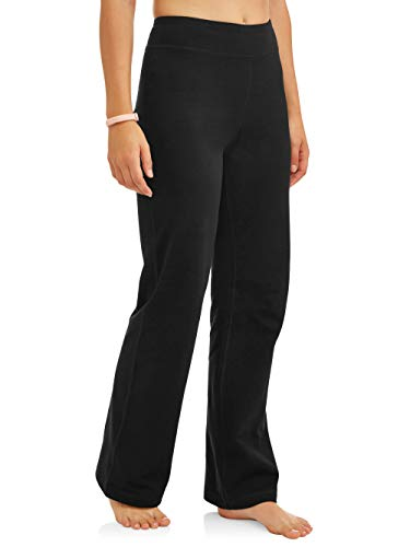 Athletic Works Women's Bootcut Fit Dri-More Core Cotton Blend Yoga Pants, Black, L Petite