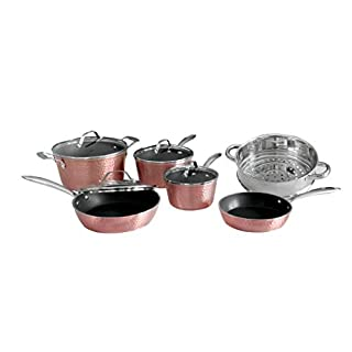 OrGREENiC Hammered Cookware Rose Series – 10 Piece Ceramic Cookware, Pot and Pan Set with Glass Lids Coated Nonstick Surface & Aluminum Construction even Heating, Oven, Stovetop & Dishwasher Safe