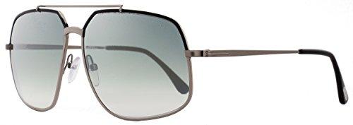 TOM FORD Men's Ronnie TF 439 01Q Gunmetal/Black Gray Square Sunglasses 60mm (Gray Tom Sunglasses Ford)