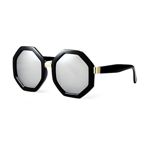 LIZHIQIANG La Plata Frame Glasses Face Gafas Female Sol Sunglasses La Long Color Hexagon Large De Plata Tf6rqT
