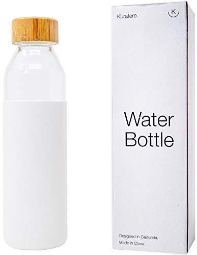 (Kuratere BPA-Free White Borosilicate Glass Water Bottle with Protective Silicone Sleeve Travel Style Reusable Glass Bottle)