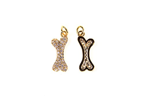 - GOODBEAD 1pc Cubic Zirconia Micro Pave Bone Shaped Charm Pendant with Jump Ring   DIY Necklace, Choker, Bracelet  