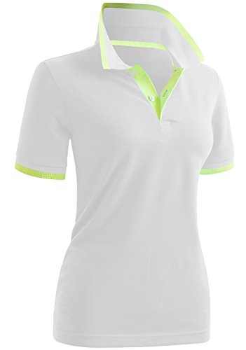 CLOVERY Women's Casual Basic Short Sleeve Polo Top White US XL + / Tag XXL by CLOVERY