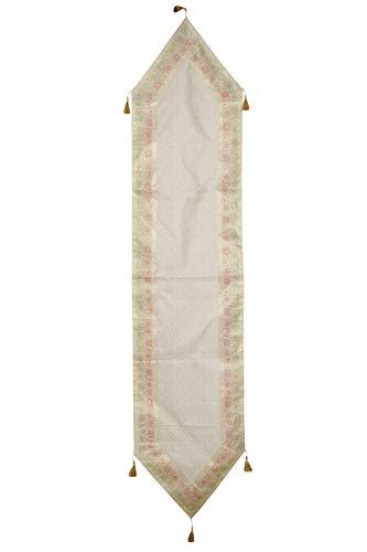 Mogul Interior Ethnic Hand Made White Indian Silk Sari Table Runner Home Decor 72x16 ()