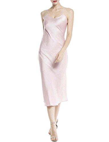iB-iP Mujer Seda Ajustable Cruz Correa Vestido Largo Delgad Largo Bata De Noche Color de rosa