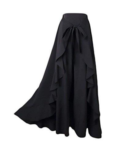 Longue Maxi Confortable Mode Femme Party Jupe Volants Elgante Jupe Fermeture Uni Style Noir Mode Moderne Irrgulier Jeune Taille Manche Casual Bandage avec Spcial Et Haute Bowknot Glissire wHqIBxI