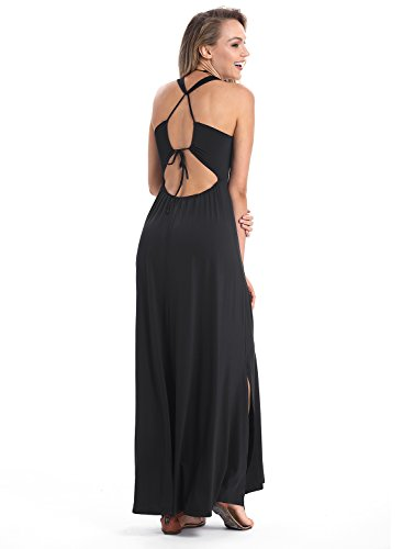 HUSKARY Womens Sleeveless Sexy Elegant Tank Top Maxi Split Halter Beach Long Dress (Black, (Halter Top Beach Dress)