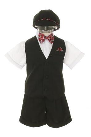 1dc626fffab5 Dress Suit Outfit Set-Shorts,Red Bowtie,Vest, Short Sleeve White Shirt
