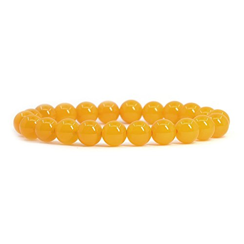 (Yellow Agate Gemstone 8mm Round Beads Stretch Bracelet 7