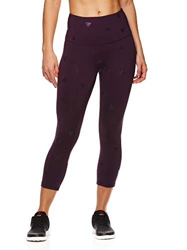 (Reebok Women's Capri Leggings w/High-Rise Waist - Cropped Performance Compression Tights - Stand Out BlackBerry Wine, Medium)