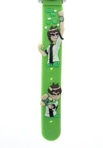 Top Ben 10 Kids 3D Cartoon Green Rubber Band Stainless Steel Case Water Resistant Quartz Watches