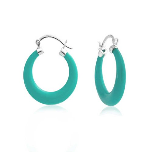 Earrings Medium 5mm Hoop (925 Sterling Silver Synthetic Turquoise Medium Hoop Earrings)