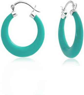 Bling Jewelry 925 Sterling Silver Synthetic Turquoise Medium Hoop Earrings