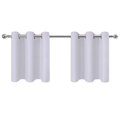 (Aquazolax Half Window Valances Blackout Curtain Panels - Privacy Enhancing Grommet Blackout Window Treatment Tier Curtains Set for Bathroom, 42W by 24L Inches, Greyish White, 1 Pair)