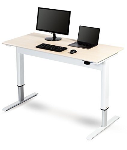 "Pneumatic Adjustable Height Standing Desk (48"", White Frame / Birch Top)"