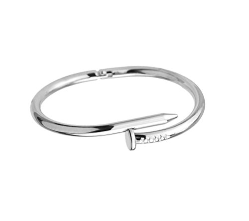 Designer Inspired Titanium Steel Nail Cuff Bangle Bracelet ()