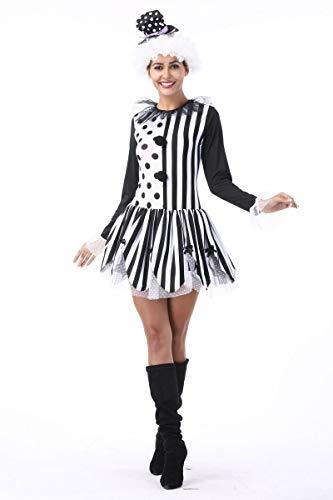 Simmia Halloween Costumes Halloween Clown Magician Couples Adult Black and White Striped Circus Clown Nightclub Bar, Female, L
