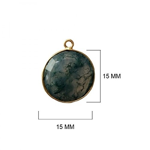 2 Pcs Natural Moss Agate Coin Beads 15mm 24K Gold Vermeil by BESTINBEADS, Natural Moss Agate Coin Pendant Bezel Gemstone Connectors Over 925 Sterling Silver Bezel Jewelry Making Supplies ()