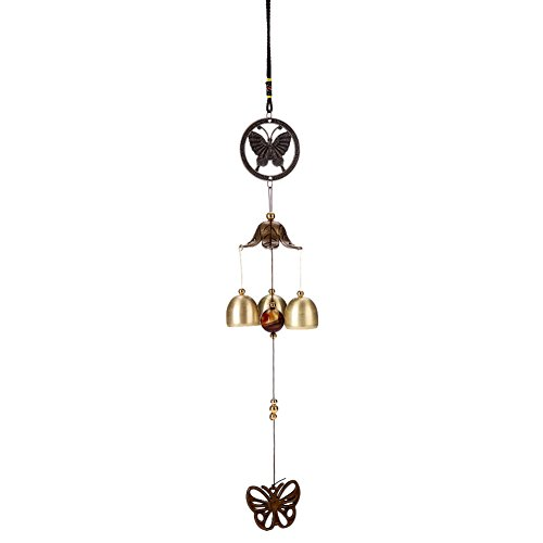 Mai Yi Retro Fashion Butterfly Copper Chimes 3-Metal Hanging Home Window Balcony Hallway Courtyard Garden Church Outdoor Indoor Decoration Windchime Bells