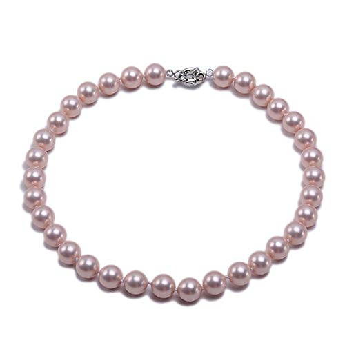 JYX Pearl 18mm Genuine Pink South Sea Shell Pearl Round Beads Necklace 18''