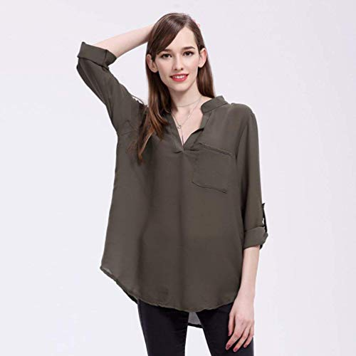 Chemise Automne Printemps Gr Casual Unie Femme 3 Tops Tee Mode lgant Branch Cou Jeune Armee Couleur Haut 4 Battercake Dame Shirt Mode Large V Manches Dsinvolte Irregular Mousseline Blouse EtOWw