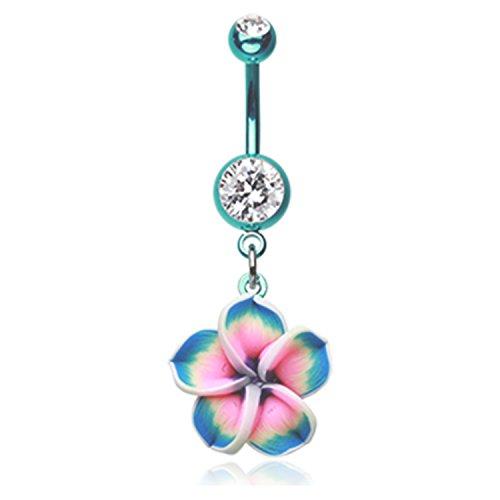 Hawaiian Plumeria Flower Navel Belly Button Ring Colorline Steel Size 14GA 3/8