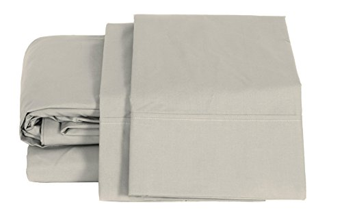 100% Cotton Percale Sheets Queen Size, Silver, Deep Pocket, 4 Piece - 1 Flat, 1 Deep Pocket Fitted Sheet and 2 Pillowcases, Crisp and Strong Bed Linen