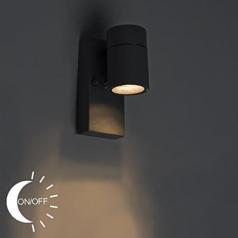 QAZQA Moderno Aplique SOLO gris claro sensor crepuscular ...