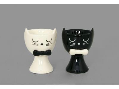 Faye S/2 Black and White Cats Egg Cup Holders