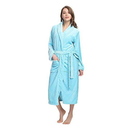 eece Robe Soft Plush Bathrobe Long Thicken Warm Kimono Shawl Collar One Piece Homewear (S/M, Aqua) ()