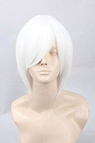 Unisex Adult Short Straight Fiber Cosplay Wig Halloween Costume Hair (White)]()