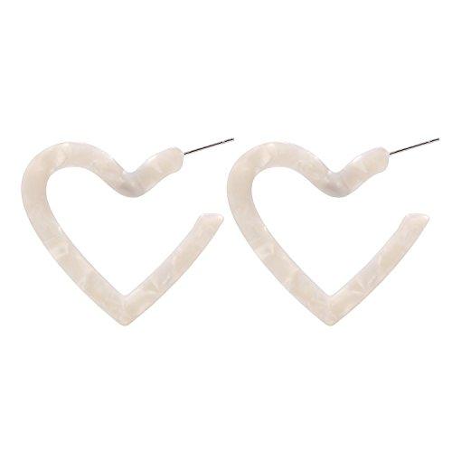 LEGITTA Tortoise Shell Resin Hoop Earrings Acrylic love heart Dangle Ear Drops Fashion Jewelry White for Women L108W ()