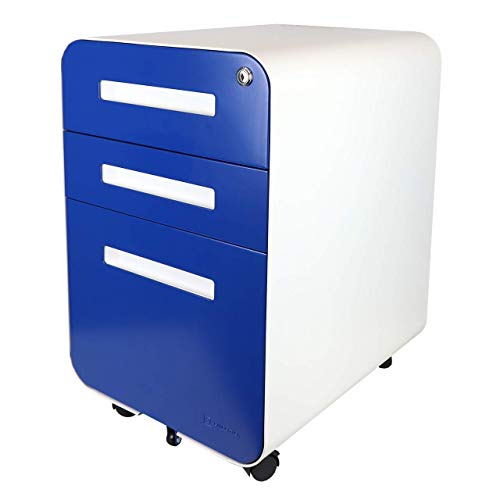 Bindertek Glide 3-Drawer Locking File Cabinet, File Storage, Letter/Legal Size Hanging Folders, Fully Assembled, Steel Constructed, Blue (Glide-BL)