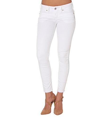 White Straight Leg Jeans (Silver Jeans Women's Berkley Sorta Straight-Fit Low-Rise Ankle Skinny Dark Jean, White, 32X27)