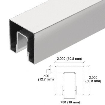 C.R. LAURENCE GRSC20BS CRL Brushed Stainless 2'' Square Crisp Corner Cap Rail for 1/2'' (12 mm) to 5/8'' (16 mm) Glass