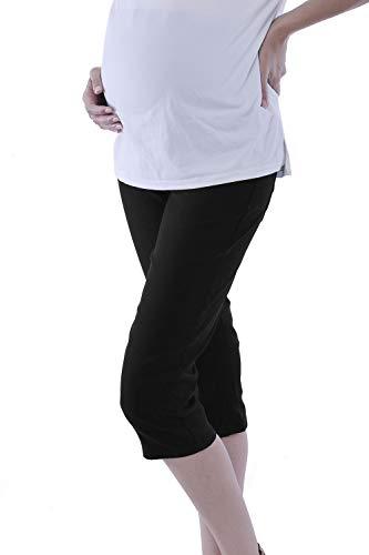 Maternity Black Capri Pants - WuhouPro Womens Super Stretch Adjustable Maternity Pants AZ 1304 Black XL