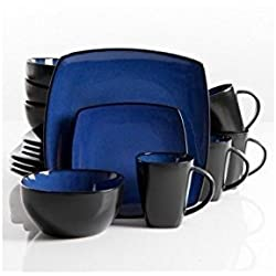 Square Dinnerware Service for 8, Plates Bowls Mugs, 32-Piece Set, Modern Blue & Black