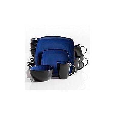Square Dinnerware Service for 8, Plates Bowls Mugs, 32-Piece Set, Modern Blue & Black