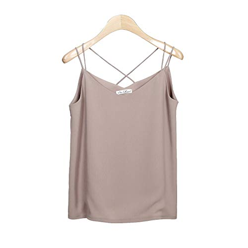 Van Royal Womens Camisole Tops V Neck Elegant Women Chiffon Camis Tank Tees (Khaki, XL)
